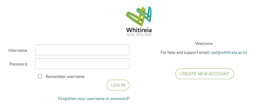 CPD@Whitireia Login Page